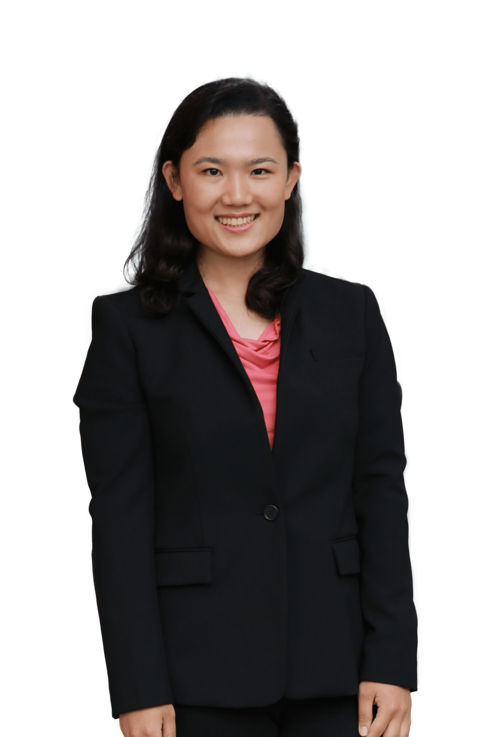 headshot of Catherine Lin, in dark business suit with pink shirt